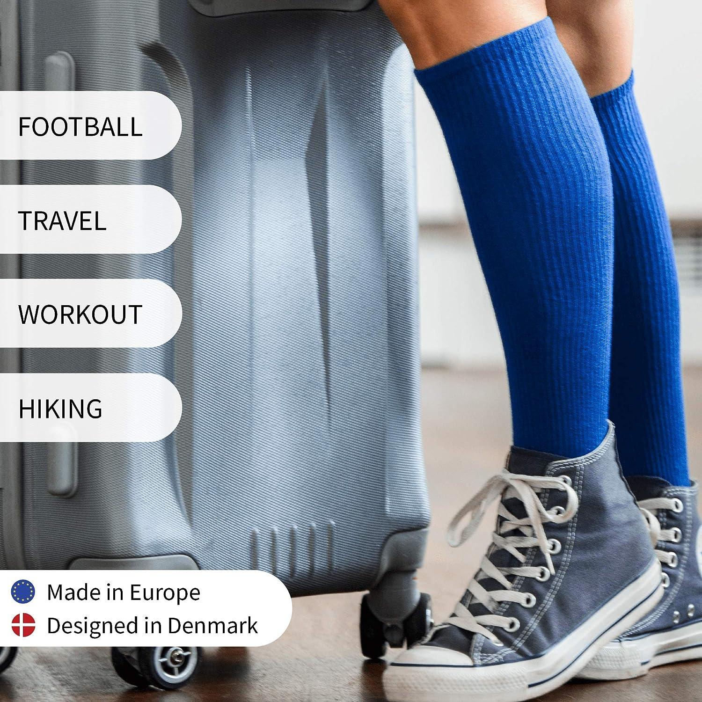 Organic Graduated Compression Socks for Men /& Women Nurses Sport DANISH ENDURANCE Flight Travel Pregnancy