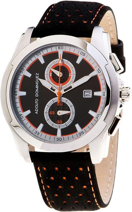 Adolfo Dominguez Watches 78102 - Reloj de Caballero Cuarzo Correa Piel Negra: Amazon.es: Relojes