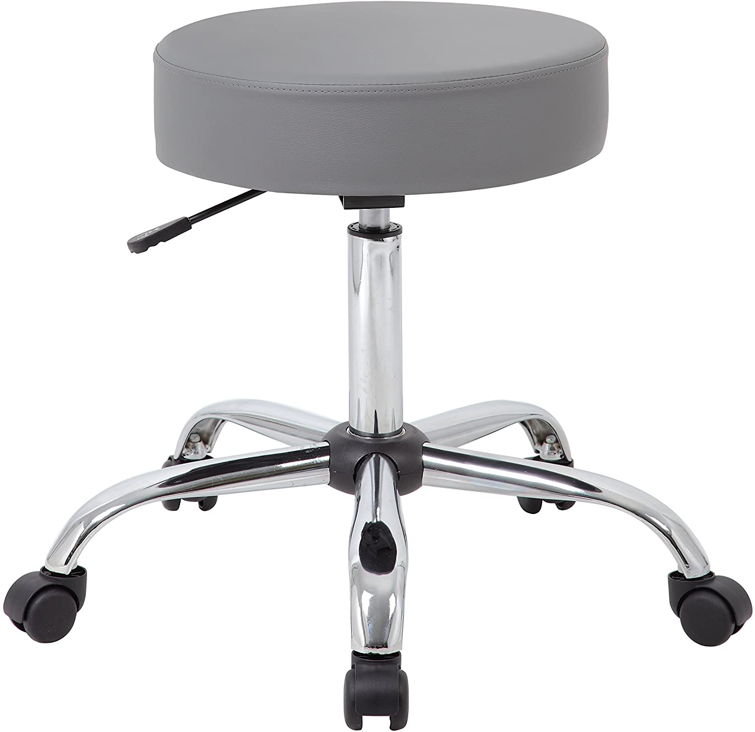 Boss Office Products Adjustable Upholstered Medical Stool in Grey