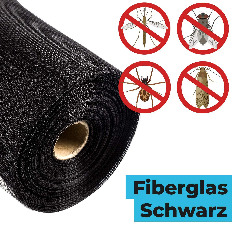 Fliegennetz f/ür Fenster und T/üren L x B: 1000x80 CM Spinnen | Weiss Fliegengitter Fiberglasgewebe gegen M/ücken Fliegen etc