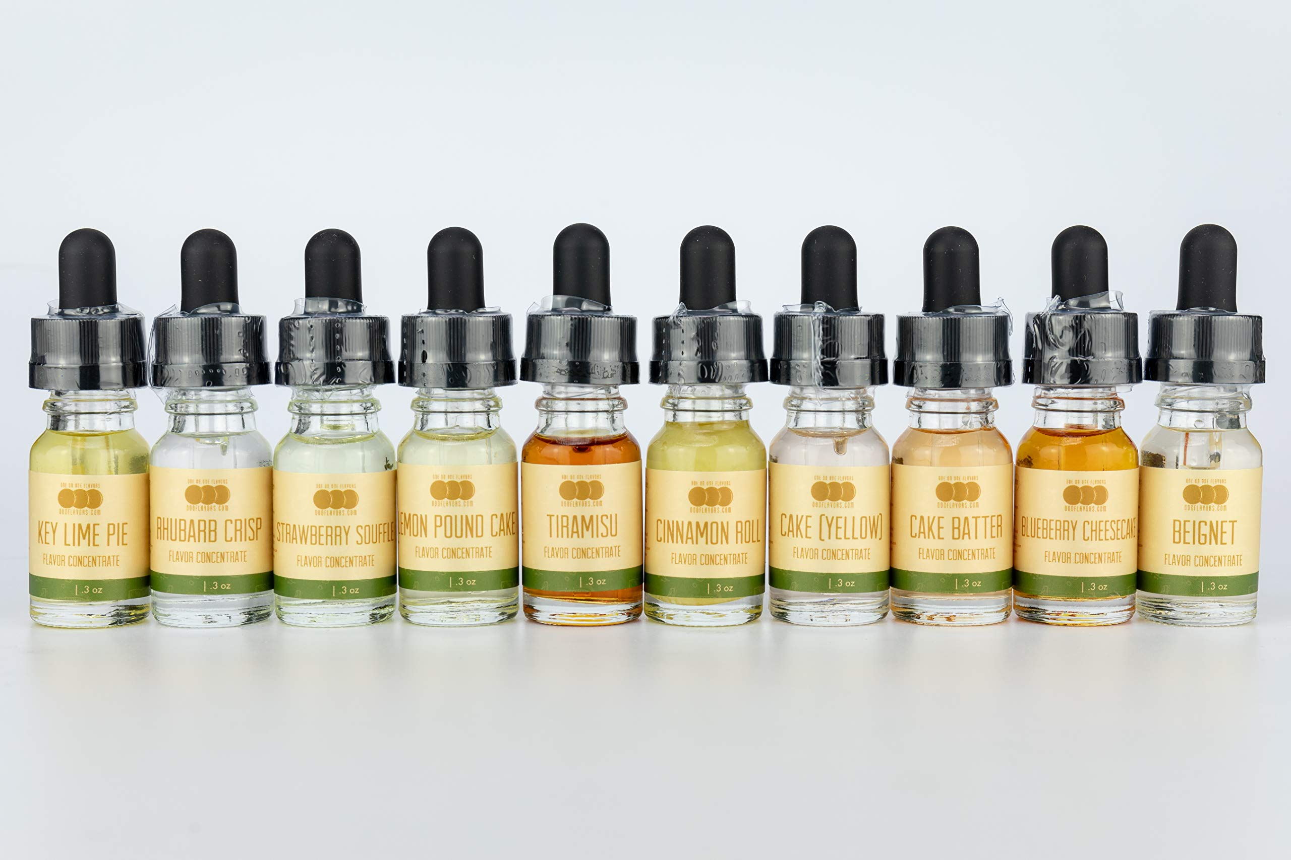 OOOFlavors Dessert Variety 10 x 10 ml Bottle Pack - Flavored Liquid Concentrate Unsweetened