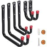 Heavy Duty Garage Storage/ UtilityHooks, Wall MountOrganizer Screw-inMulti-Tools Hanger & Holder Hook |Includes 12 pcs Screws and Anchors | 6 Pack
