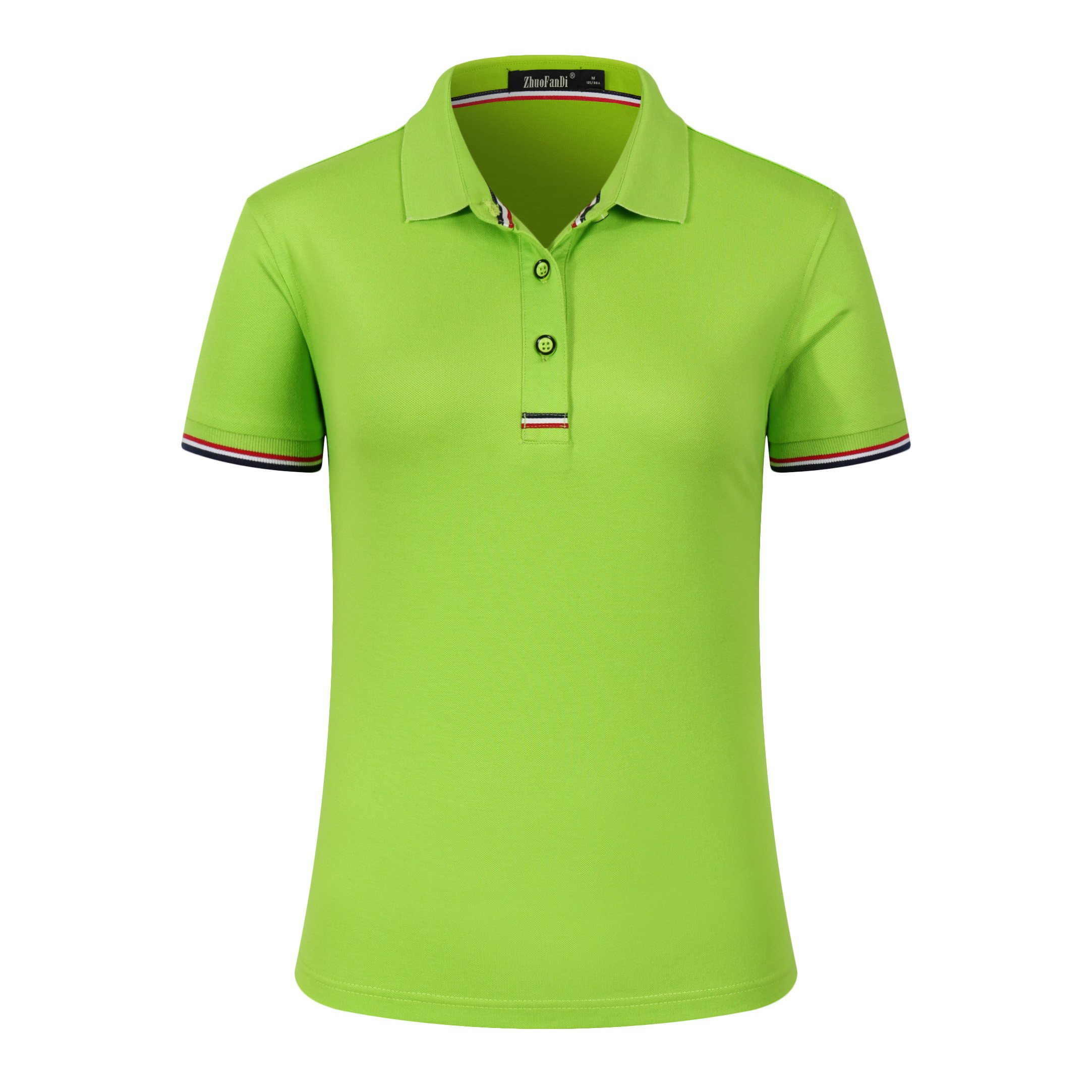 Mitario Femiego Women Classic Striped Collar Slim Fit Golf Polo Shirt Fluorescent Green S
