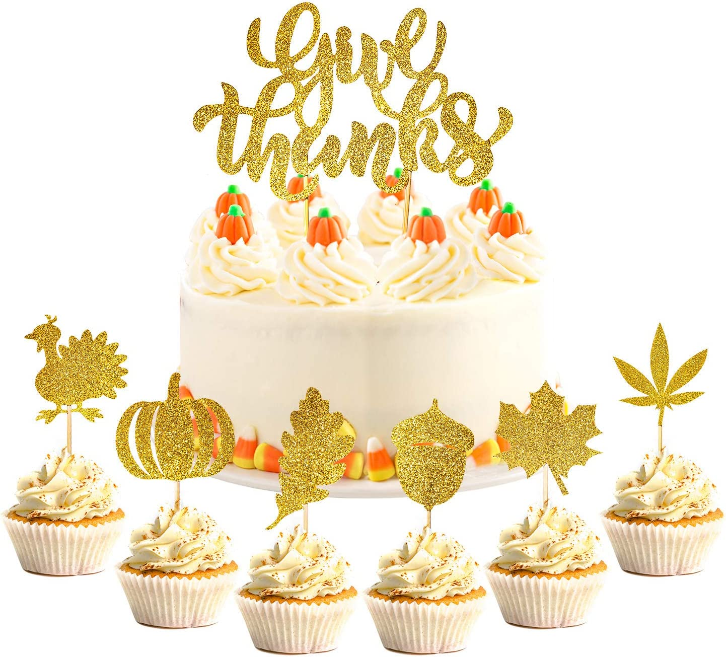 Whaline 37Pcs Fall Theme Cupcake Decoration Large Give Thanks Cake Topper Glitter Gold Turkey Maple Leaves Pumpkin Pinecone Food Picks for Autumn Thanksgiving Day Party Supplies