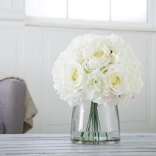 Home 50-133 Pure Garden Hydrangea and Rose Floral Arrangement