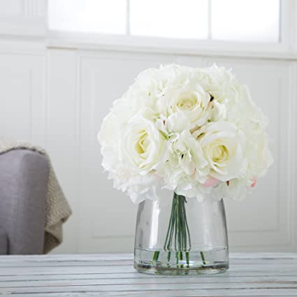 2cffa4830a77 Amazon.com  Pure Garden Hydrangea and Rose Floral Arrangement with ...