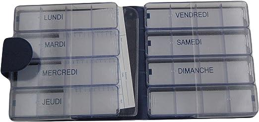 MEDIMAX LUXE - Pastillero semanal, azul, instrucciones en francés, estuche grande, 7 + 1 días individuales, 28 + 4 compartimentos, gran capacidad para medicamentos voluminosos, funda sólida, rígida, material sintético, semi mate,