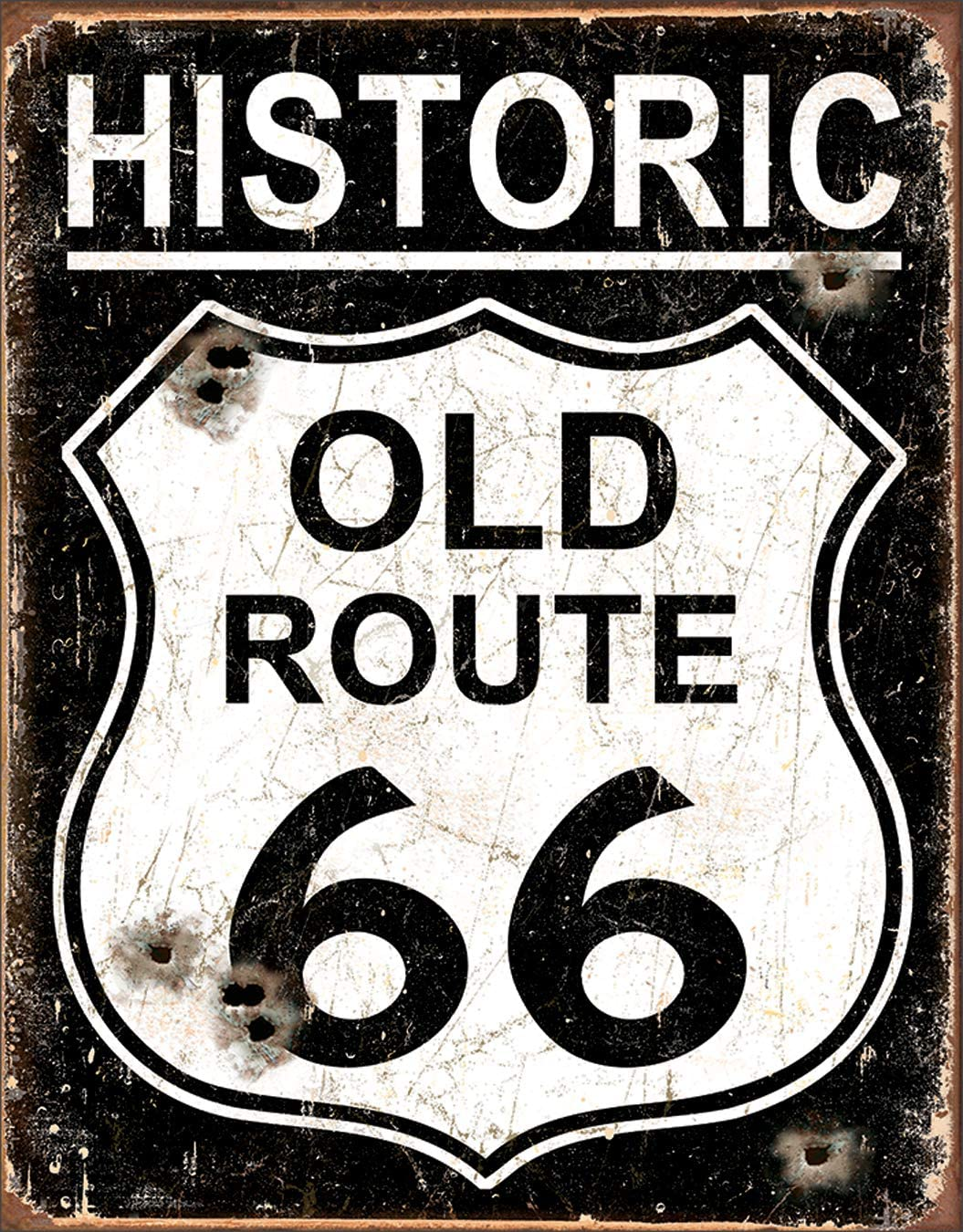 "Desperate Enterprises Historic Old Route 66 - Weathered Tin Sign, 12.5"" W x 16"" H"