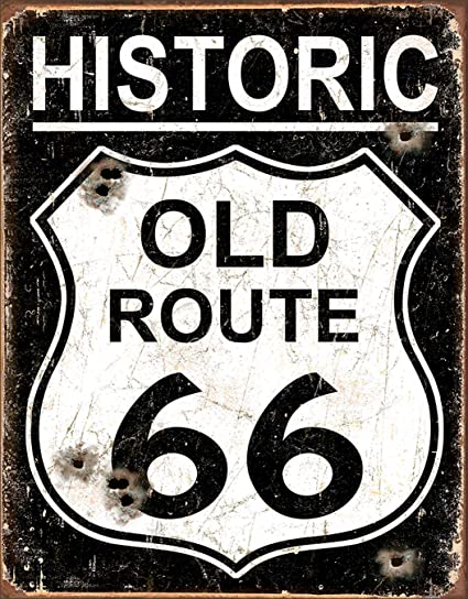 Amazon.com: Old Route 66 – WEATHERED Tin Sign 13 x 16 en ...