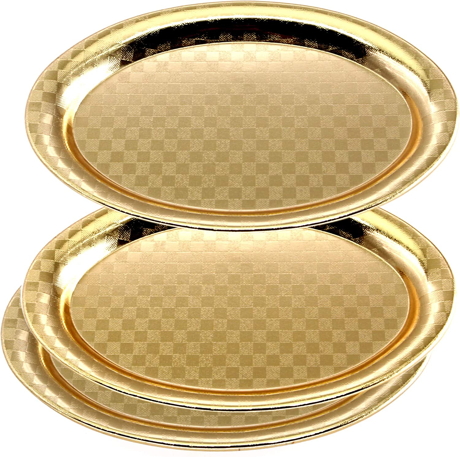 Maro Megastore (Pack of 3) 7.9 Inch x 5.6 Inch Oval Iron Gold Plated Serving Tray Bricks Square Edge Decorative Party Birthday Wedding Dessert Buffet Wine Candle Decor Platter Plate Dish CC-683