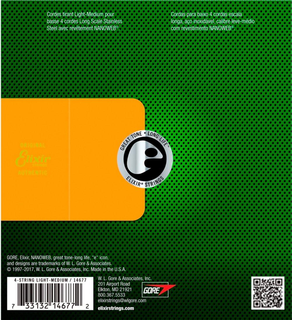 Elixir 14677 - Juego de cuerdas para bajo eléctrico de acero inoxidable.045 - .105: Amazon.es: Instrumentos musicales