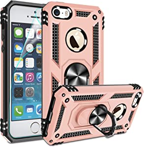 Compatible for iPhone 5 Case, iPhone 5S Case, iphnoe SE Case with HD Screen Protector, Gritup Military-Grade Shockproof Phone Case with Magnetic Kickstand Ring for Apple iPhone 5/5S/SE Rose Gold