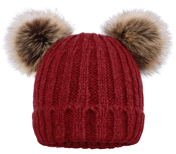 ARCTIC Paw Women Knit Beanie Cable Knit Beanie Hat Faux Fur Pompom Ears 4a6cb5708ca