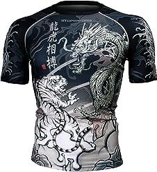 974b6d693694 Btoperform Short sleeve Compression Rash guard Full graphic base layer  shirts Dragon vs Tiger FX-