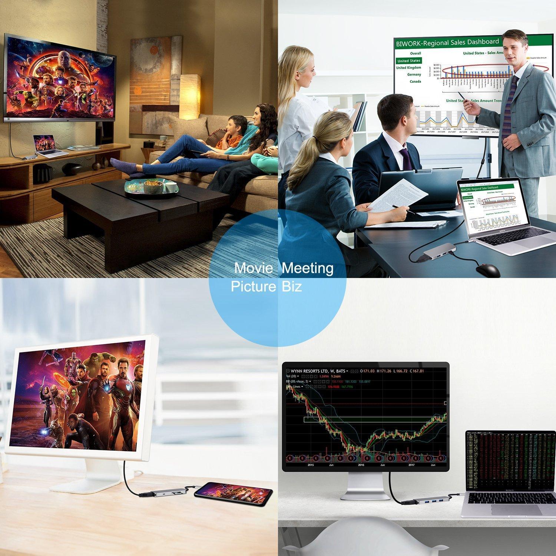LC-dolida USB C hub MacBook, 7 in 1 USB C auf hdmi Adapter mit USB C Port,4K HDMI Anschluss,TF/SD/Micro-SD Kartenleser für MacBook/MacBook Pro 2016 2017 Samsung Galaxy S8 S8+ S9