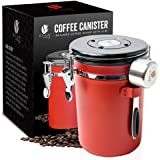 Bean Envy Airtight Coffee Canister - LARGE 22.5 oz - Includes Stainless Steel Scoop & Integrated Silicone Base - Sealed Canti