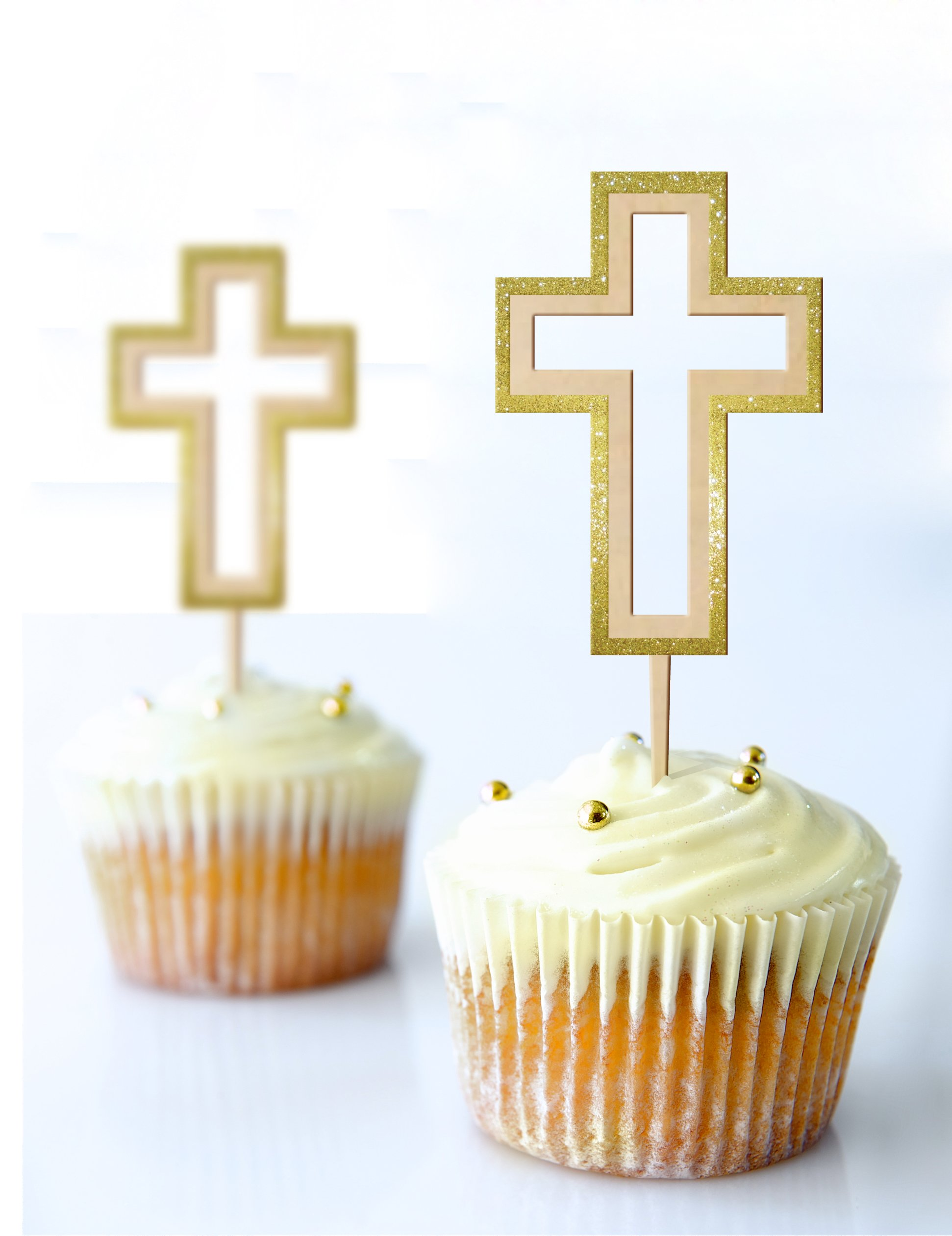 Cup Cake Topper Cross Baptism,Communion 2.3 X 5.7 Inches Laser Cut MDF and Glitter Foamy Gold Set 3 Pc