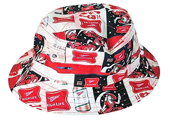 b1bda5dfc92 Amazon.com  Miller High Life All Over Logos Bucket Hat  Clothing