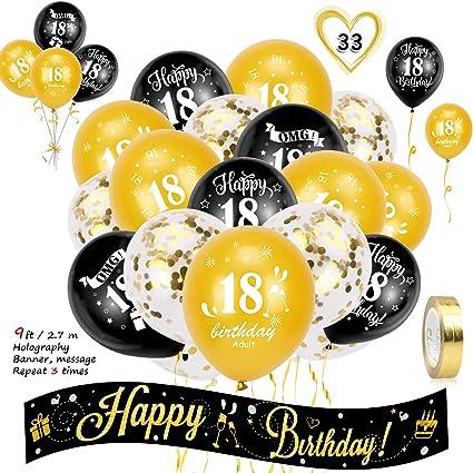 Howaf Geburtstag Dekoration Set 18 Geburtstag Deko Schwarz Und Gold 18 Geburtstagsdeko Banner Und 18 Geburtstag Luftballons Latex Konfetti Ballons Für Junge Mädchen Geburtstag Dekorationen Amazon De Spielzeug