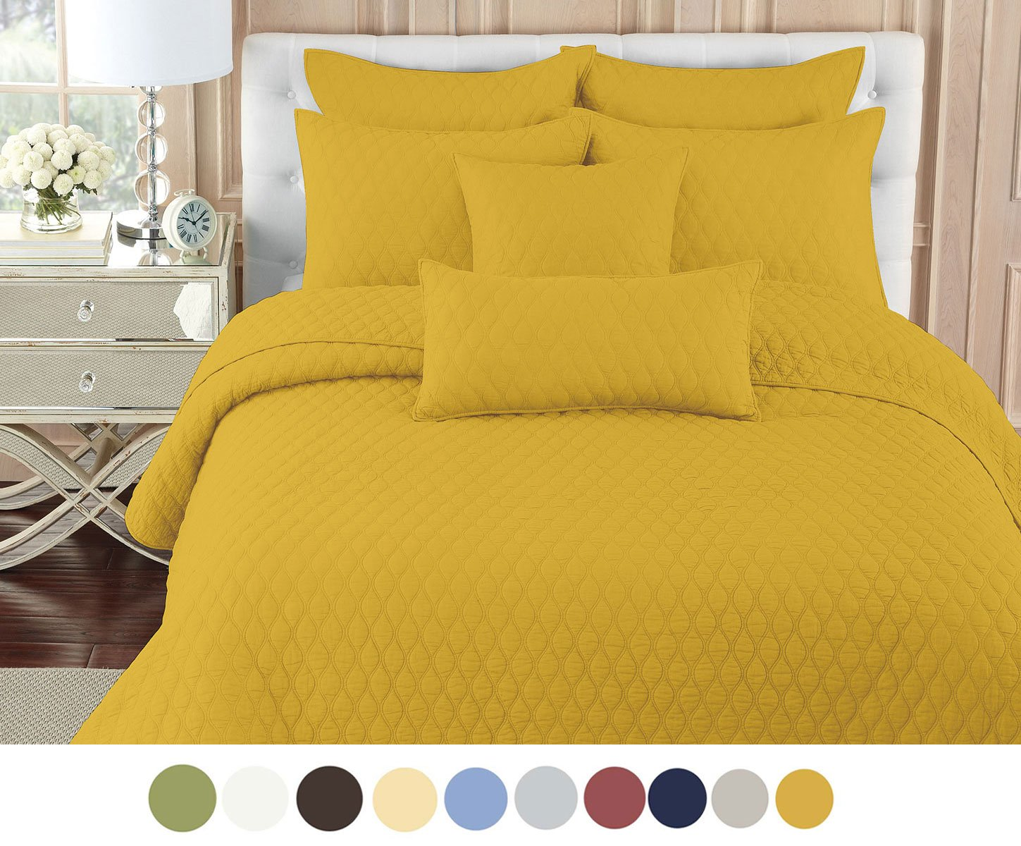 Eastend Home Fashions Circle Ogee Quilt Set Microfiber quilt set, Full/Queen, Spicy Mustard