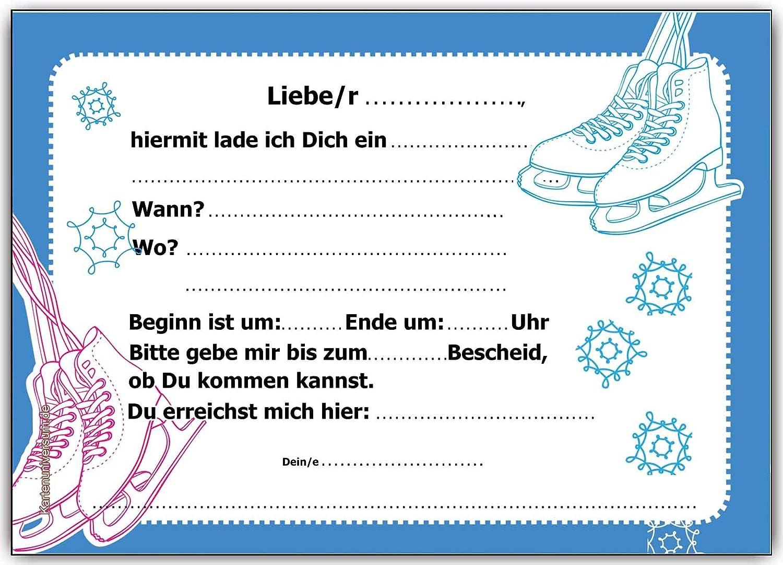 Einladungskarten Kindergeburtstag Schlittschuhlaufen Eislaufen Schlittschuh  Einladung   6 Stück: Amazon.de: Bürobedarf U0026 Schreibwaren