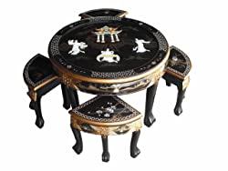 Chinese Oriental Furniture - Mother of Pearl Round Coffee Table With 4 Nesting Stools and Glass Top