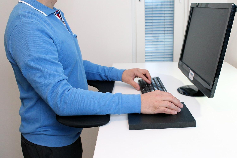 - mejor que manos levantadas mu/ñequeras de descanso- funciona bien con raton ergonomico Soporte de antebrazo Pauner el paquete incluye un soporte del antebrazo y un mouse pad tm