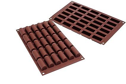 SF129 Molde de silicona para Chocolate y Helado Forma Bûche Mini 30 cavidades, color marrón