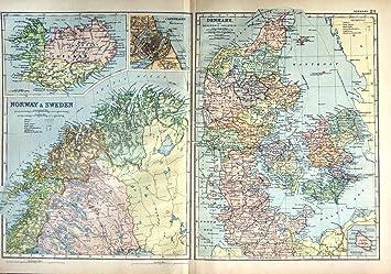 1901 Mapa Noruega Suecia Dinamarca Bornholm Copenhague Amazones