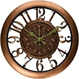 Foxtop 11 Inch Silent Antique Retro Style Wall Clock See-Through with Arabic Numeral and Mute Standard Quartz Movement-Copper