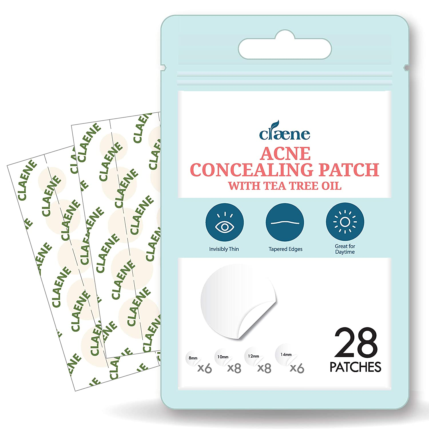 Claene Acne Pimple Concealing Patch - Invisible, Blemish Spot, Hydrocolloid, Skin Treatment, Facial Stickers, Absorbing Cover, 4 Sizes, Blends in with skin (28 COUNT)