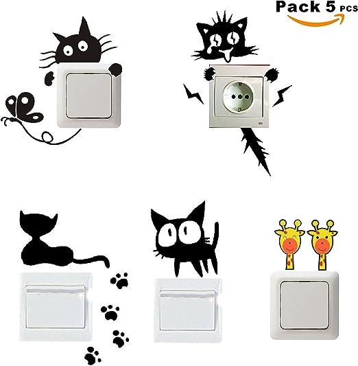 SUPER STICKER - Pack 5 pcs Vinilo decorativo pegatina - para pared, bater, interruptor, puerta. Etc.- gatos, ref:pck5a: Amazon.es: Hogar