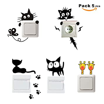 SUPER STICKER - Pack 5 pcs Vinilo decorativo pegatina - para pared, bater, interruptor, puerta. Etc.- gatos, ref:pck5a: Amazon.es: Hogar