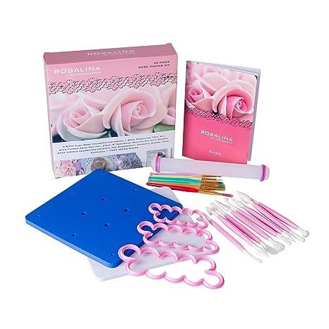 Rosalina - Juego de 20 piezas con 12 tamaños para hacer rosas/molde cortador + juego de ...