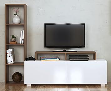 Homidea Aster Wohnwand   Weiß/Nussbaum   TV Lowboard   Fernsehtisch Mit  Regale In Modernem