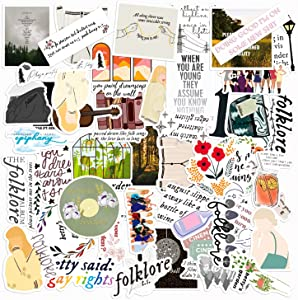 GROBRO7 50Pcs Folklore Vinyls Stickers Taylor Swift Laptop Sticker Waterproof Stickers Luggage Skateboard Water Bottle Sticker Decal Bicycle Snowboard Refrigerator Decorate Gift for Kids Adult