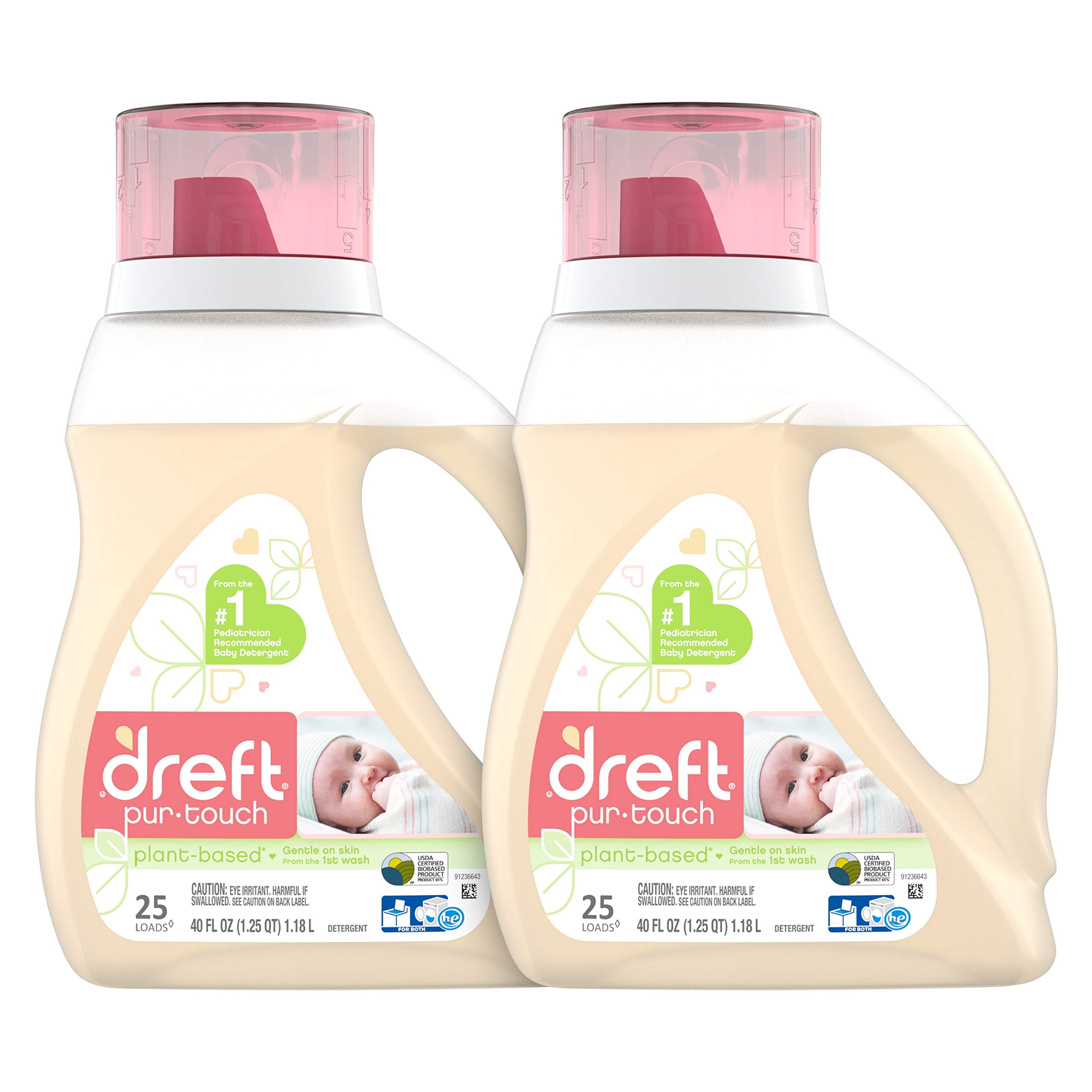 Dreft Purtouch Baby Liquid Laundry Detergent, Hypoallergenic for Baby, Infant or Newborn, 40 Fl. Oz (Pack of 2) (Packaging May Vary) by Dreft