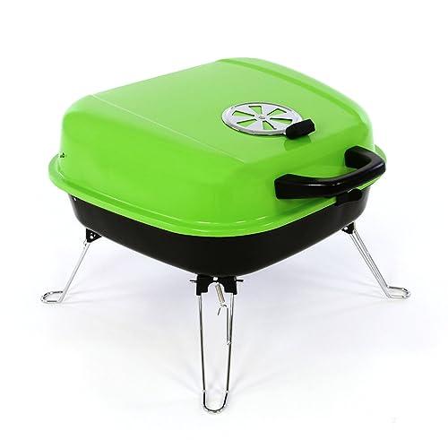 Nexos Mini Koffer-Grill Holzkohlegrill für Garten Terrasse Camping Festival Picknick Party BBQ Barbecue ca 34 x 36 cm Grillfläche grün