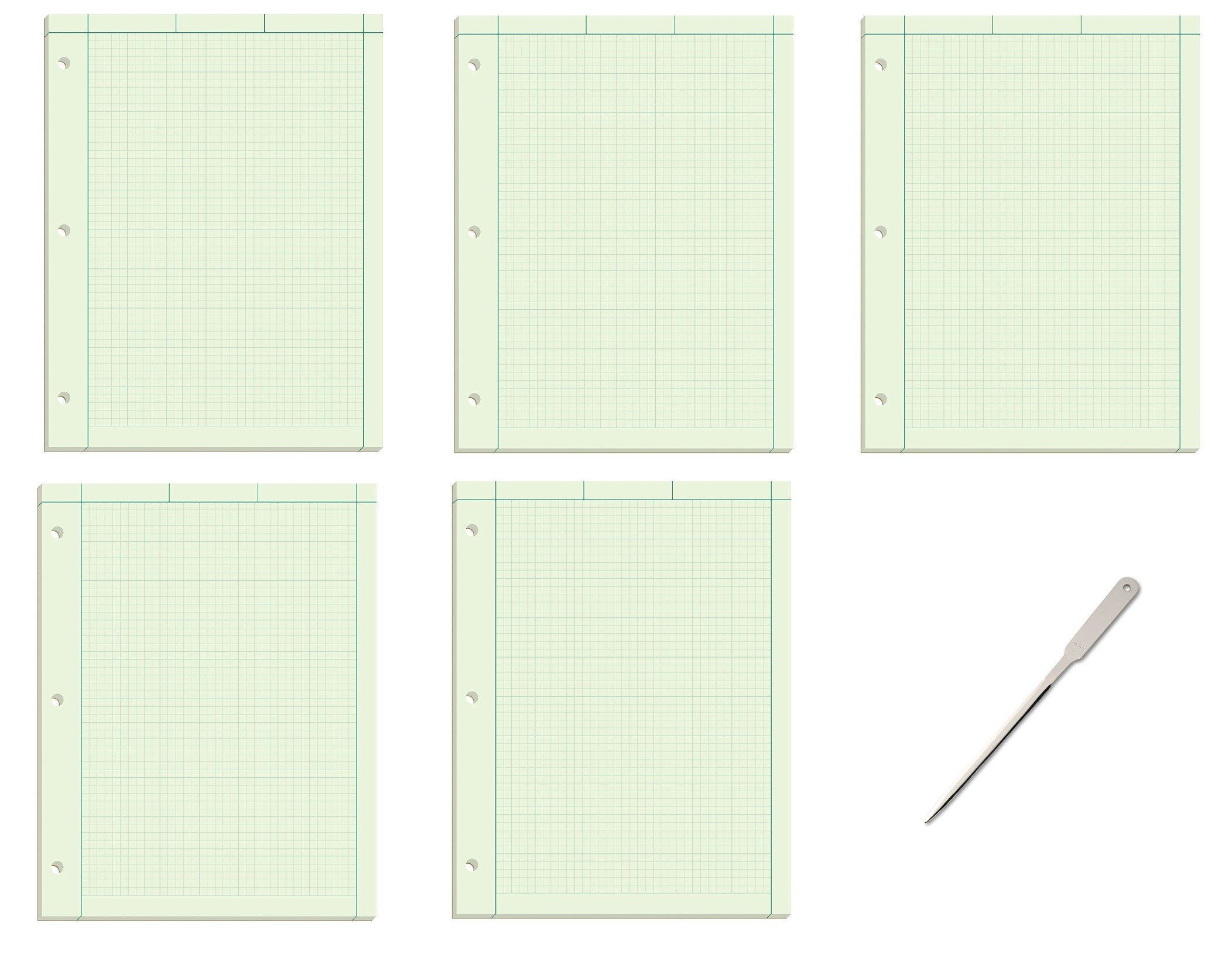 Ampad Evidence Engineering Pad, 100 Sheets, 5 Squares Per Inch, Green Tint, 11'' H x 8 1/2 W, Pack Of 5 (22-142) - Bundle Includes Universal Letter Opener