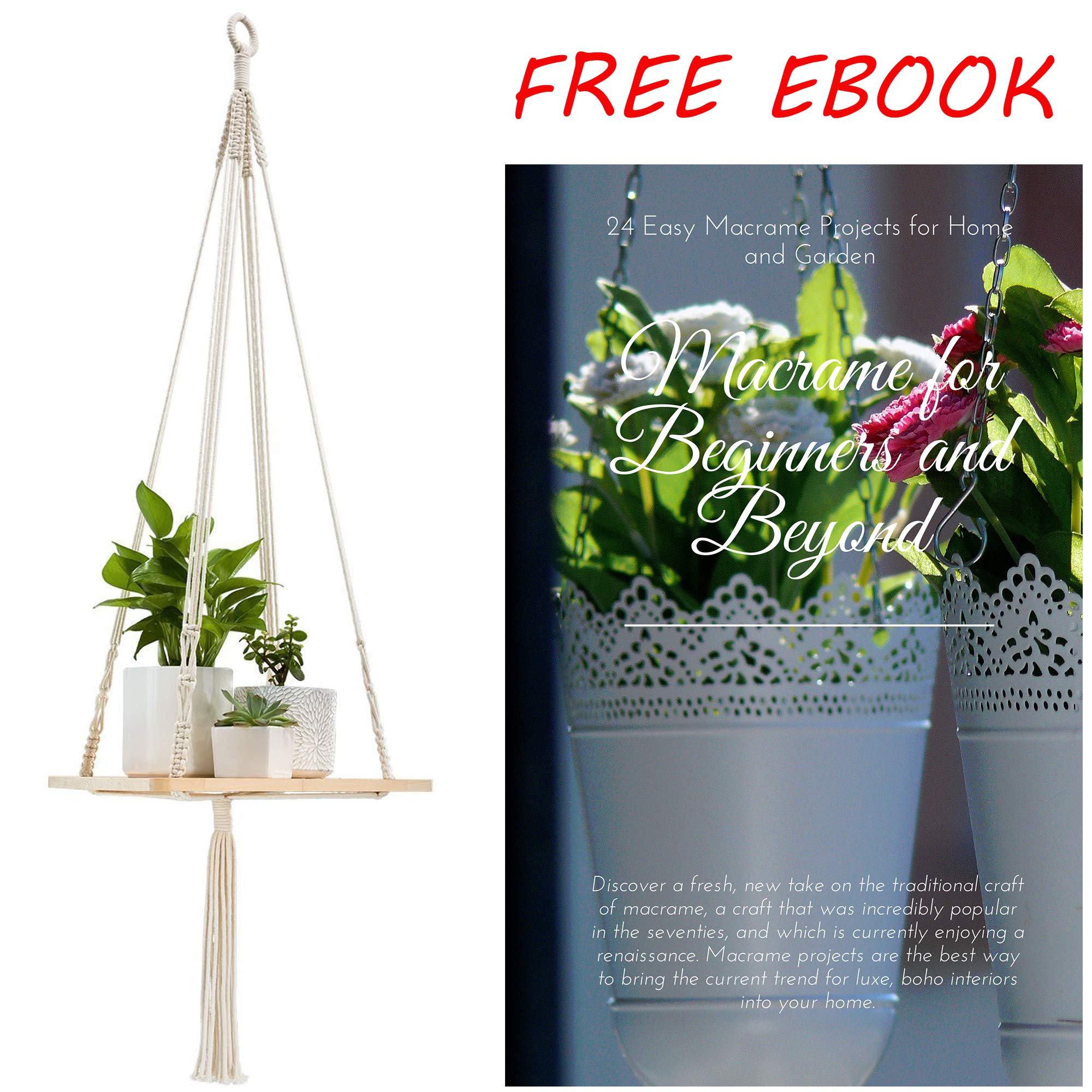 Shelf Hanging Planter Plant Hanger – Unique, Strong, and Durable Indoor Wall Planter – Ideal Wall Hanging Planters for Small Indoor and Outdoor Plants, Vases, Books by Canpino