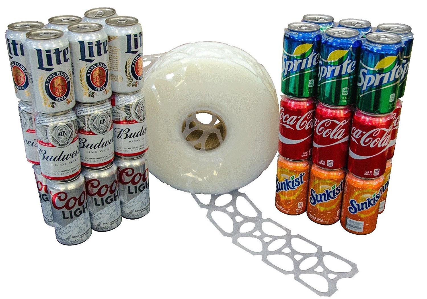 1000 Count Roll 6-Pack Rings Universal Fit - Fits all 12oz Beer Soda Cans C-STORE PACKAGING COMINHKPR102643