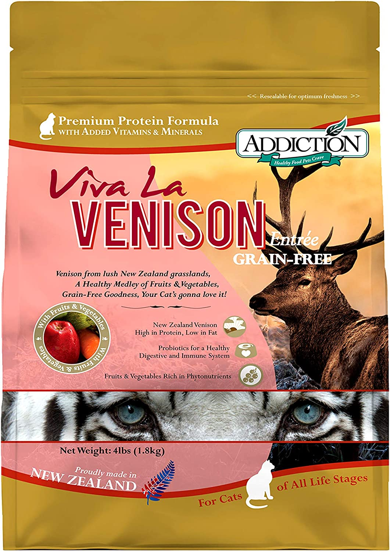 Addiction Viva La Venison Grain Free Dry Cat Food, 4 Lb.