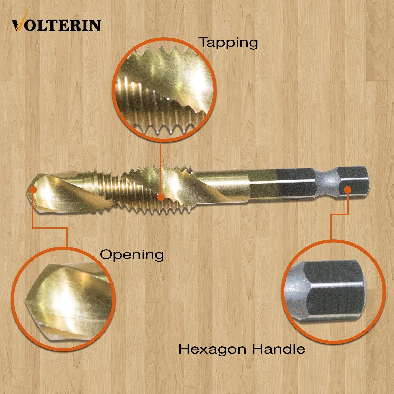 Spiral Tap Drill Bit Set by Volterin Volterin Titanium Step Drill Bit Set Multiple Hole Step Drill bit 3-Piece Set 6 Pcs Titanium Coated HSS 6542