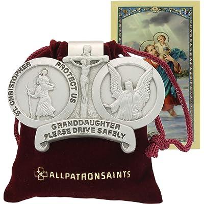 All Patron Saints St Christopher Granddaughter Drive Safely Auto Visor Clip: Automotive