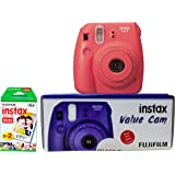 Fuji Instax Mini 8 Value Cam Instant Camera - Combo (Camera + 20 Instant Films) (Raspberry)