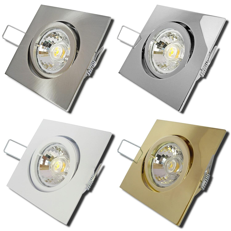 5 Stück MCOB LED Einbaustrahler Luisa 230 Volt 5 Watt Schwenkbar Gold Neutralweiß