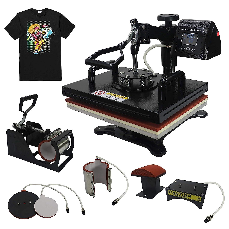 "RoyalPress Professional 12"" x 15"" Color LED 360-degree Rotation Sublimation Heat Transfer 5 in 1 Multifunction Combo Heat Press Machine Hat/Mug/Plate/Cap/T-Shirt Black (12""x15"" 5 in 1)"