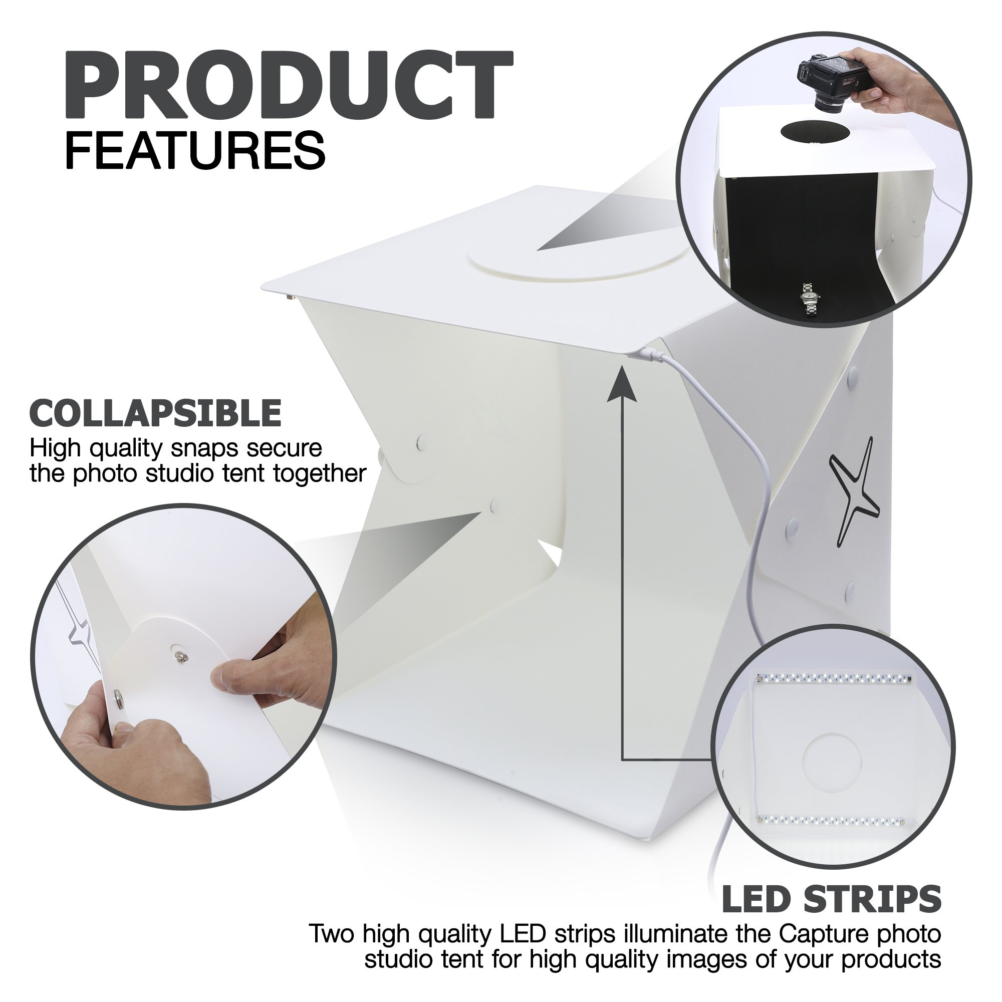 Capture Portable Photo Studio Box: LED Light Box Photo Tent- Large by Capture (Image #2)