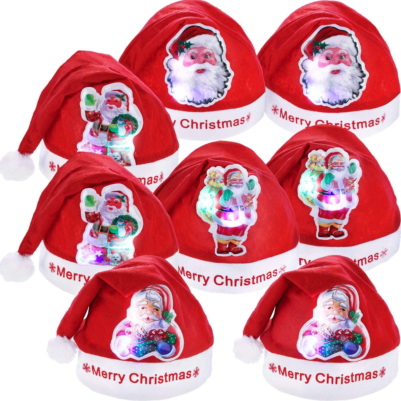 Style Set 2, Taille Adulte 8 Pi/èces Chapeaux De No/ël Lumi/ère LED Chapeau Santa Chapeau de Claus pour Faveurs de Partie de No/ël