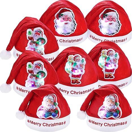 8 Pezzi Natale Cappelli LED Cappello Babbo Natale Cappelli per Natale Festa  Fovori (Dimensione Adulto 41b5ae22610f